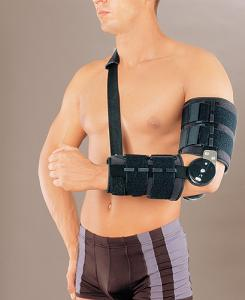 Ортез на локтевой сустав с ребрами жесткости и регулятором угла сгибания