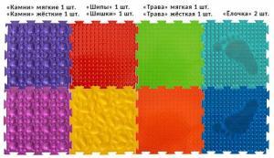 Модульный ортопедический коврик набор ОРТО УНИВЕРСАЛ жесткий (8 пазлов)